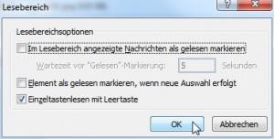 Outlook 2007 Optionen Lesebereich